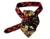 Lorenzo Selini Silk Necktie Scarf, Ladies Necktie Scarf, Red black gold necktie necklace, Ascot Scarflette, Silk Collar, Necktie Neckpiece