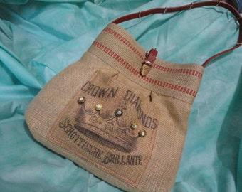 Burlap Crown Diamonds Print handbag, purse, market bag with red belt handle and Natural Jute Webbing