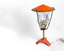 1950s Footed Table Lamp. Orange, Brass