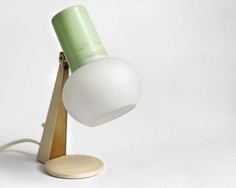 Small Accent Table Lamp 1950s Midcentury Modern. Pastel Green, Beige, White, Brass