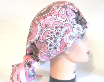 Ponytail Surgical Pink and Brown flower cap/ Surgical caps/ Ponytail Surgical Scrub Caps
