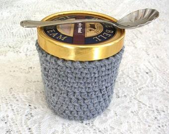 Gray Pint Ice Cream Sleeve - Handmade Crochet Ice Cream Cozy - Grey Ice Cream Holder -Pint Size Cozy Cover - Cottage Decor