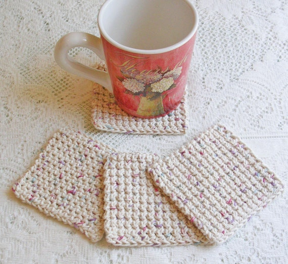 Items similar to drink coasters crochet coasters for Handmade drink coasters
