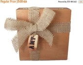 ON SALE Add On For A Gift / Custom Redwood Wood Burned Monogram Tag & Burlap Wrap