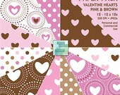 Valentine Hearts - Bonus Digital Paper Pack - Pink and Brown - INSTANT DOWNLOAD - for Scrapbooking, Cards, Crafts, Invites, Collage, Journal