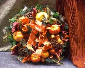 Fall Pumpkin Gourd Wreath
