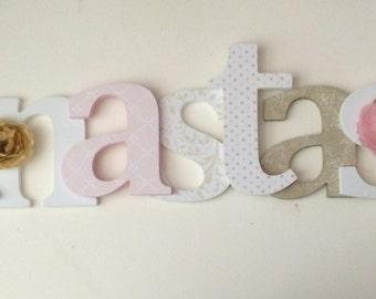 Wooden  letters for nursery in pink, beige, tan
