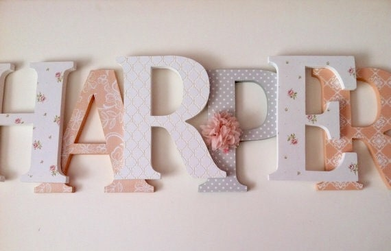 Wooden Letters For Nursery In Peach Gray And White