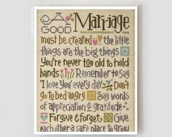 A Good Marriage cross stitch pattern INCLUDES threads by Lizzie Kate at thecottageneedle.com Wedding love married anniversary newlywed