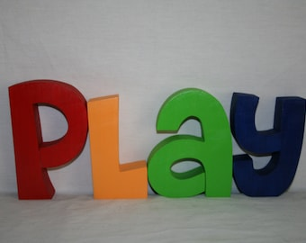 Wood letter sign, Wooden letters, 12.00 per letter, Custom play room decor, Play room wall art, Nursery letters, Teacher gift, Wood sign