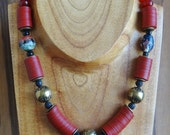 Festive,BoldTribal Red Necklace,Unique Venetian Murano Vintage Glass,Tribal,Ethnic,Primitif,Modern,Urban,Rustic,Handmade Assemblage Necklace