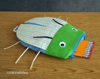Beetle Bag by MinneBites / Handmade School Pencil Case - Notebook Back to School Bag - Boys Art Pouch - Bug Insect Toy - Ready to Ship
