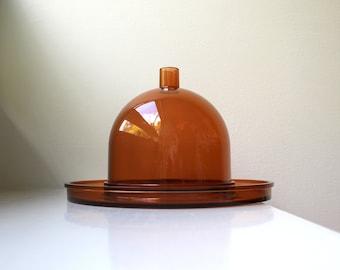 Mod Dansk Cheese Tray / Cheese Dome Amber Cloche Gunnar Cyren Denmark 1970's