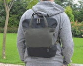 Zippered UNISEX backpack, Convertible bag, Tote bag, canvas crossbody bag Weekender bag, school bag
