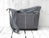 Large Charcoal Diaper Bag, zipper diaper bag, lots of pockets changing bag, vegan messenger, unique gift for pregnant women
