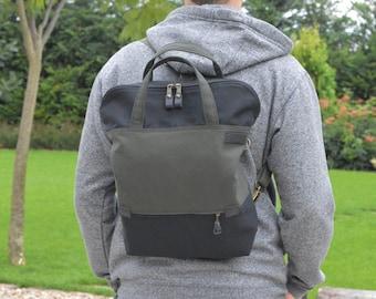 Zippered UNISEX backpack, Convertible bag, Tote bag, canvas crossbody bag Weekender bag, school bag
