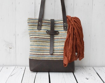 Messenger Bag Leather ~ Casual Shoulder bag Totes ~ brown striped handbag, unique gift for college students, christmas gift for mom