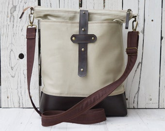Leather messenger tote, Canvas diaper bag, Zippered unisex laptop carrier, unique gift for college students, macbook carrier, birthday gift