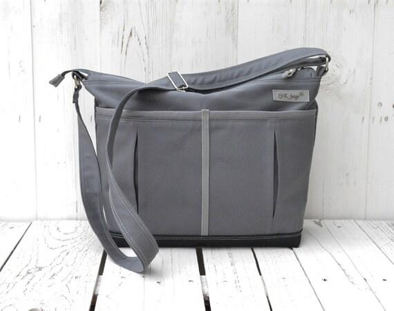 large charcoal diaper bag zipper diaper bag lots of pockets. Black Bedroom Furniture Sets. Home Design Ideas