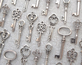 The Caspian Collection - Skeleton Key Charm Assortment in SILVER - Set of 72 Keys