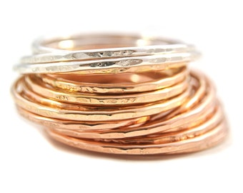 Delicate 18ga 1.5mm stacking rings sterling silver oxidized gold filled rose gold filled