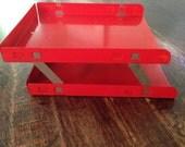 VERTIFLEX Red Industrial Steel Metal Desk Paper File Organizer MCM