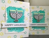 Hanukkah Card, Watercolor Hanukkah Card, Menorah Card, Judaica, Chanukah Cards