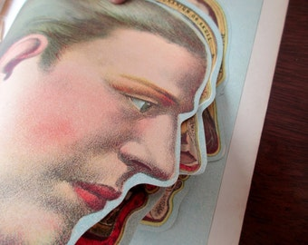 4 part original overlays, not a copy -1900s color lithograph Medical MANIKIN from antique 1901 medical book - head, brain, skull, litho