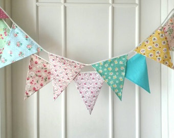 Shabby Chic Fabric Banners, Bunting, Garland, Wedding Bunting,  Flags - 3 yards (9th version)