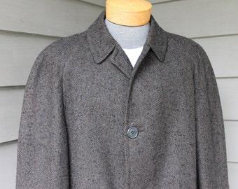 vintage 1960's -Worsted-Tex- Men's overcoat. Nubby Olive, Black, & Blue Herringbone - Wool.   Large - Extra Large 44 Reg