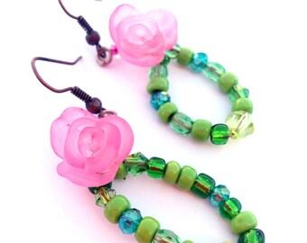 Flower earrings, pink and green earrings, beaded earrings, beaded leaves - leaf, floral, rose - Gardening, garden earrings, spring blooms