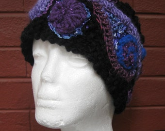 Black and Blue Headband/Earwarmer - Freeform Crochet