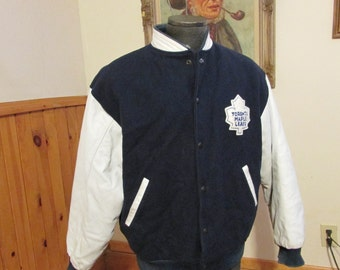 Toronto Maple Leafs Vintage Jacket Bomber Coat Leather And Wool Material Size Mens Large