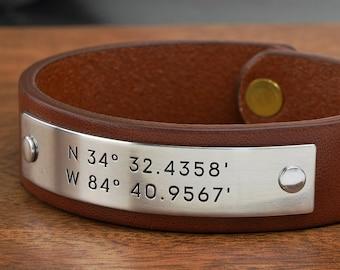 Custom Coordinates Leather Bracelet - Personalized Latitude Longitude Bracelet - Hand Crafted in USA