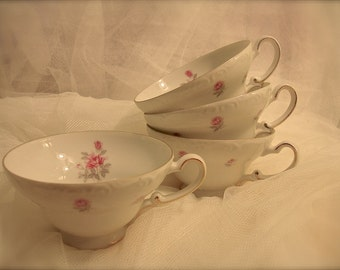 Pink RosesTeacups, shabby chic roses teacups, tea party decorations, rose petite pattern by Harmony house    (4 cups)