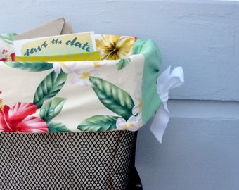Yellow and Red Hawaii Flowers Bicycle Basket Liner