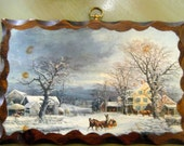 Wood Plaque Winter Holiday Scene//Currier and Ives Style//Vintage Christmas Decor