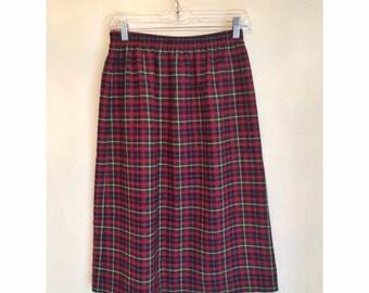 SALE Plaid High Waist Wool Blend Skirt