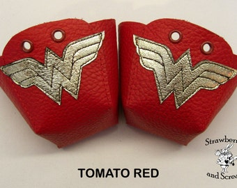 Wonder Woman Leather Roller Derby skate toe guards