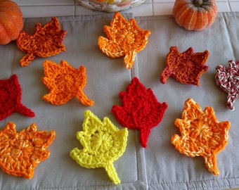 Hand Crochet Maple Leaves  set of 10 Assorted Fall Autumn Colors