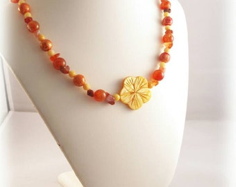 Yellow Flower Shell Necklace