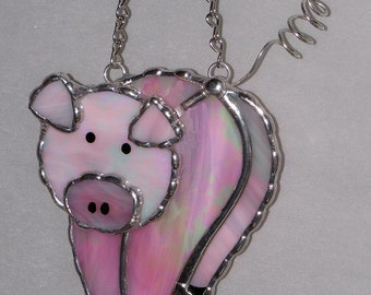 Stained Glass Suncatcher - Pink Pig, Piggy, Original Design, Handmade