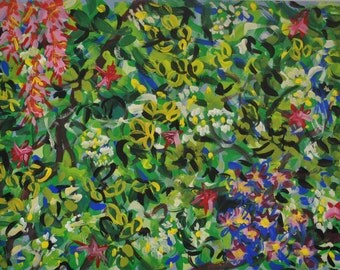 Original Painting Floral Abstract Tempera on Paper