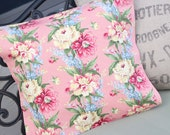 Antique English Pink Cabbage Rose Floral  Outdoor Patio Bench Custom Decorative Throw Pillow