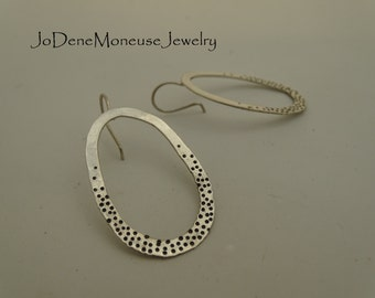 Sterling silver earrings, big oval hoop, hand forged, spots and dots earrings, hand fabricated, artisan metalsmith jewelry