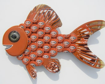 Goldfish Art Metal BottleCap A & W Root Beer Bottle Cap Fish