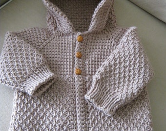 Brown Beige Taupe Crochet Boy Sweater with Hood. 6-12 Months - MADE TO ORDER - Tunisian Crochet - Handmade