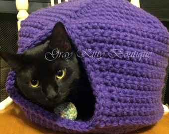 Cole's Cat Cave - Cat Hideaway - Cat Condo - Crochet Cat Cave - Crochet Cat Condo