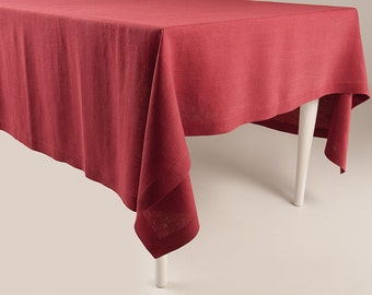 Red tablecloth, red linen tablecloth, red table linens by Lovely Home Idea