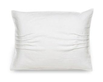 Pillowcase with pleats, White linen pillowcase, White pillowcases, King pillowcases, Euro shams, Natural linen bedding